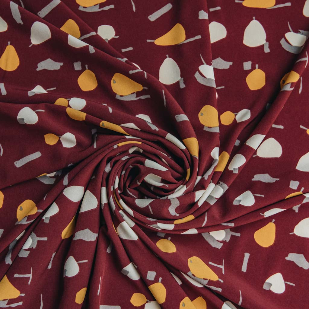 Apple & Pears Printed Light Weight Woven Stretch Dress Fabric - Burgundy & Mustard Yellow