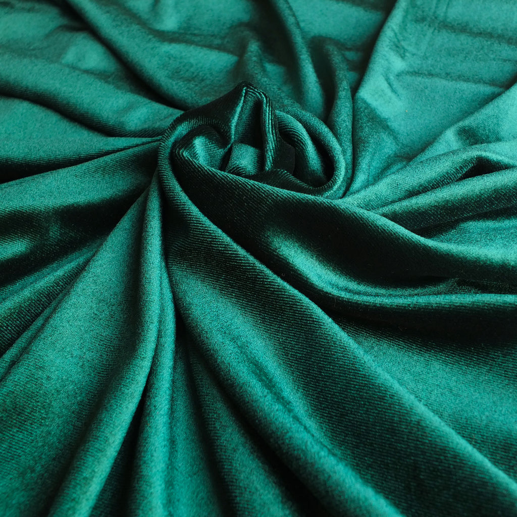 Bottle Green Soft Stretch Velvet Dress Fabric - Rich Knitted Velour