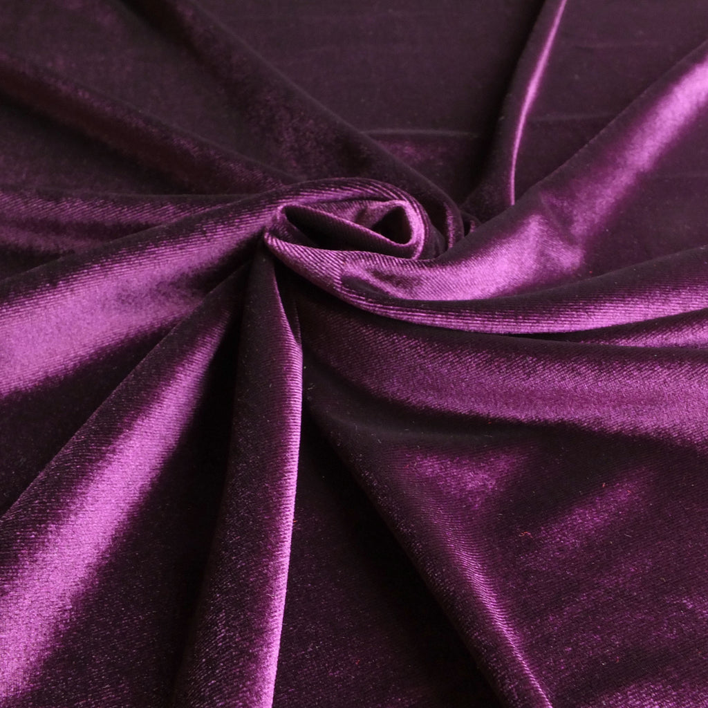 Purple Soft Stretch Velvet Dress Fabric - Rich Plain Knitted Jersey Velour