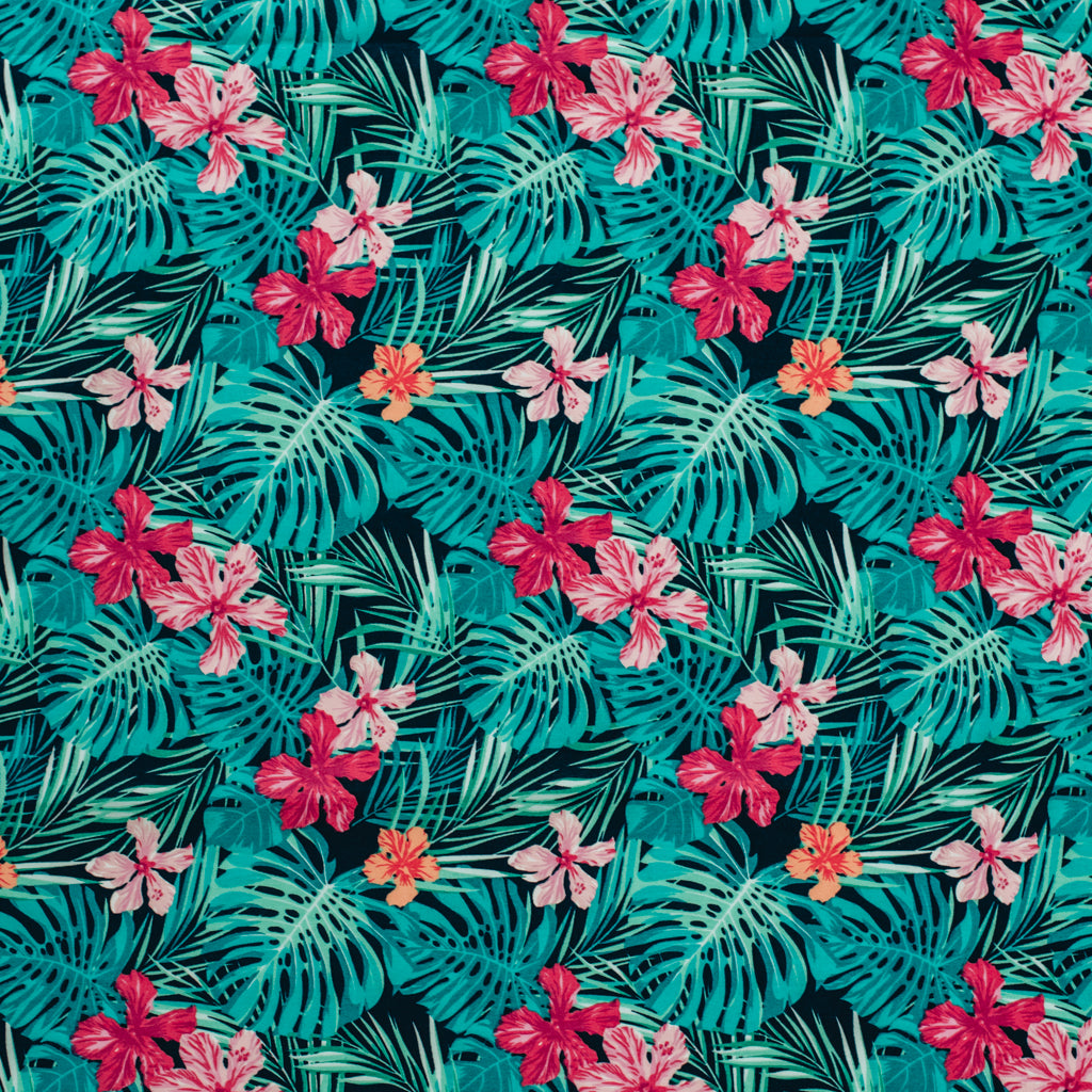 Tropical Leaves Printed Cotton Poplin Fabric - Navy & Pink