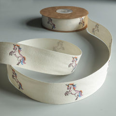 2 metres of Cream Cotton Ribbon with Unicorns - 25mm wide