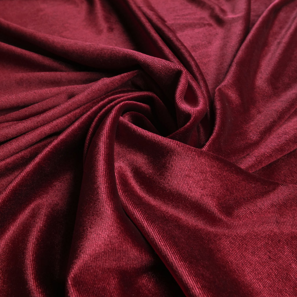 Wine Dark Red Soft Stretch Velvet Dress Fabric - Plain Knitted Jersey Velour