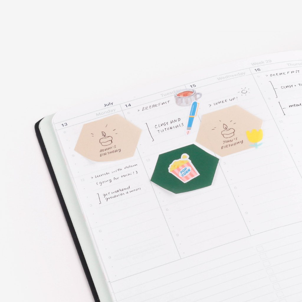 Classiky × drop around Geometric Sticky Notes - 07 Off White + Moss