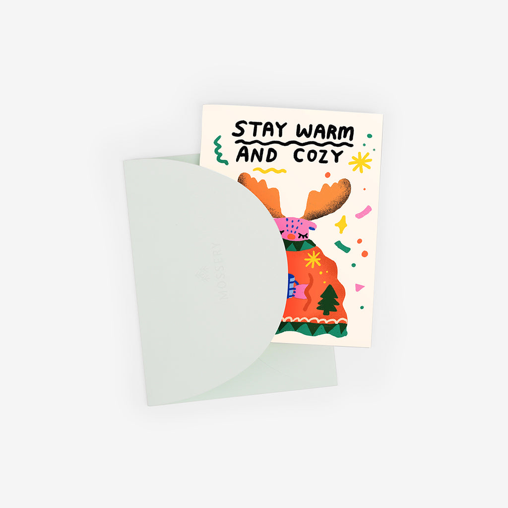Cozy Moose Greeting Card