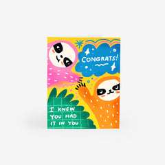 Sloth Surprise Greeting Card