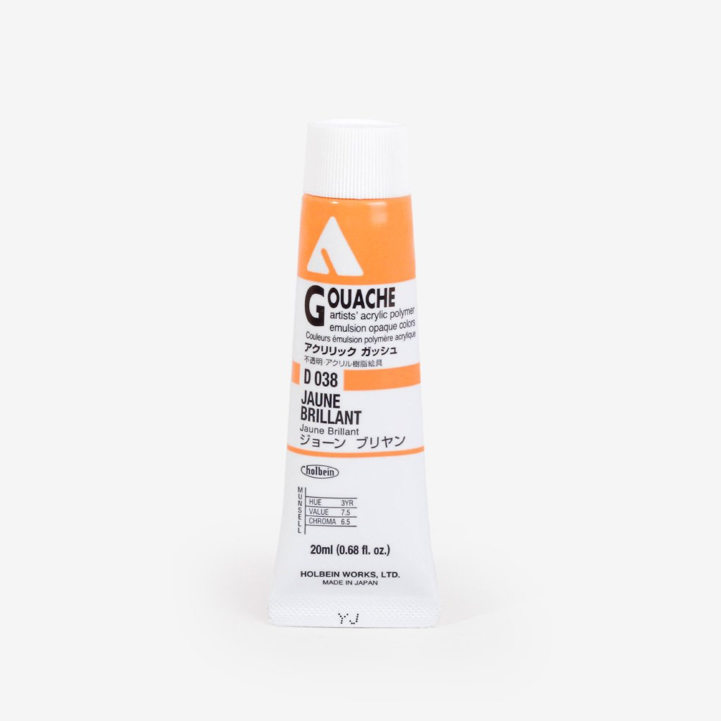 Holbein Acryla Gouache 20ml Tube - Jaune Brilliant