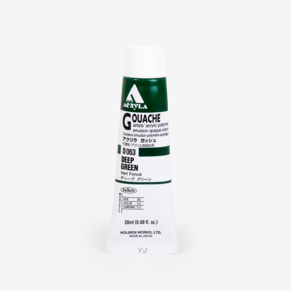 Holbein Acryla Gouache 20ml Tube - Deep Green