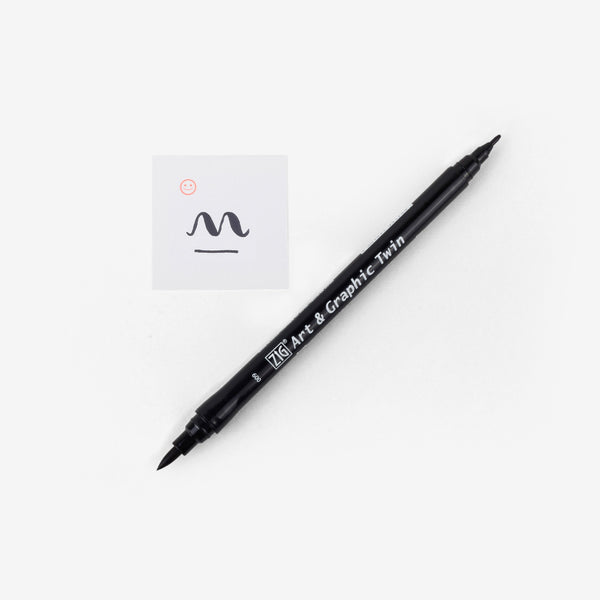 Kuretake Art & Graphic Twin Pen - Black