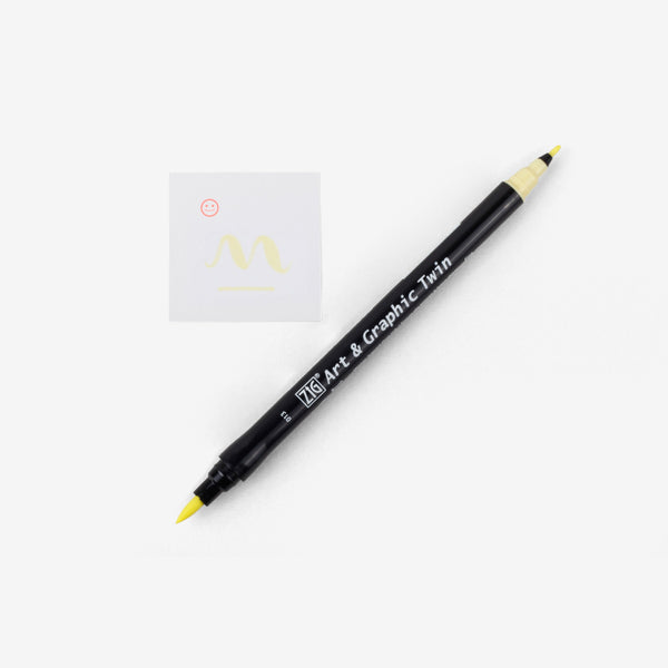 Kuretake Art & Graphic Twin Pen - Pale Yellow