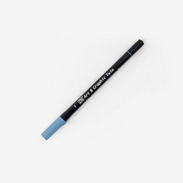 Kuretake Art & Graphic Twin Pen - Blue Gray