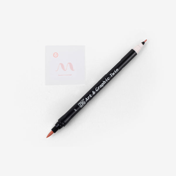 Kuretake Art & Graphic Twin Pen - Pale Pink