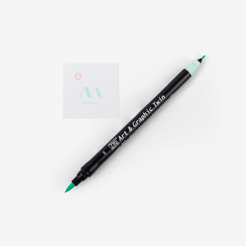 Kuretake Art & Graphic Twin Pen - Green Shadow