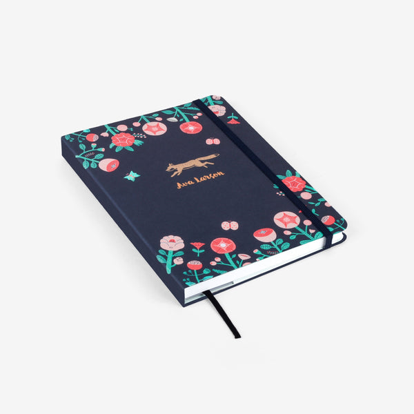 Flower Fox Emblem Medium Threadbound Notebook