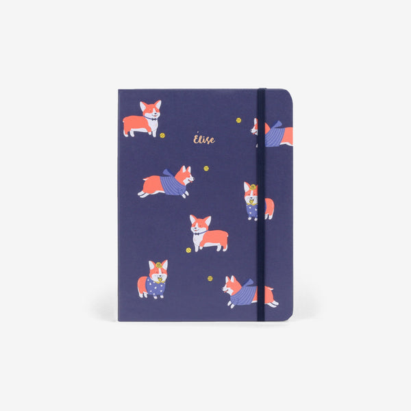 Corgi Navy Medium Threadbound Notebook Cover