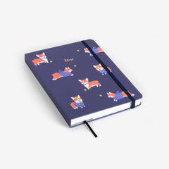 Corgi Navy Threadbound Notebook