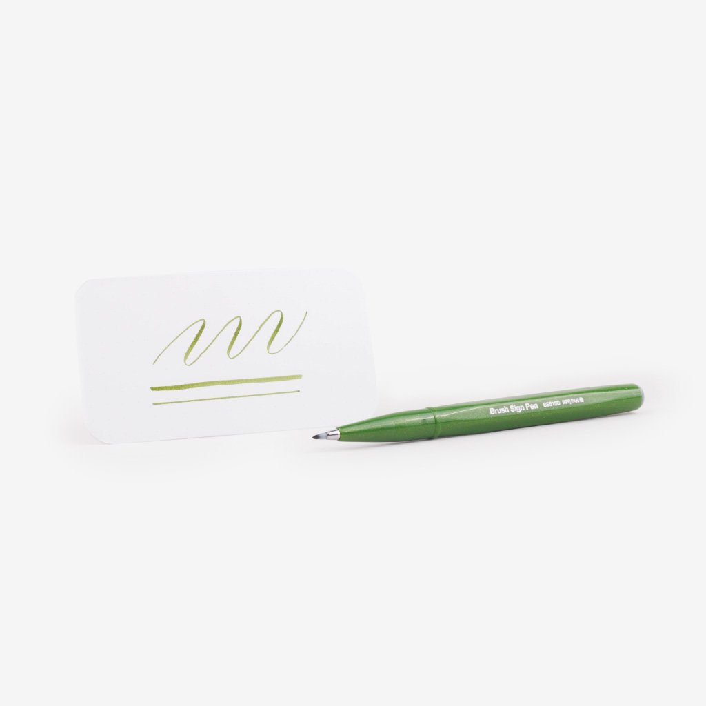Pentel Fude Touch Brush Sign Pen - Olive Green