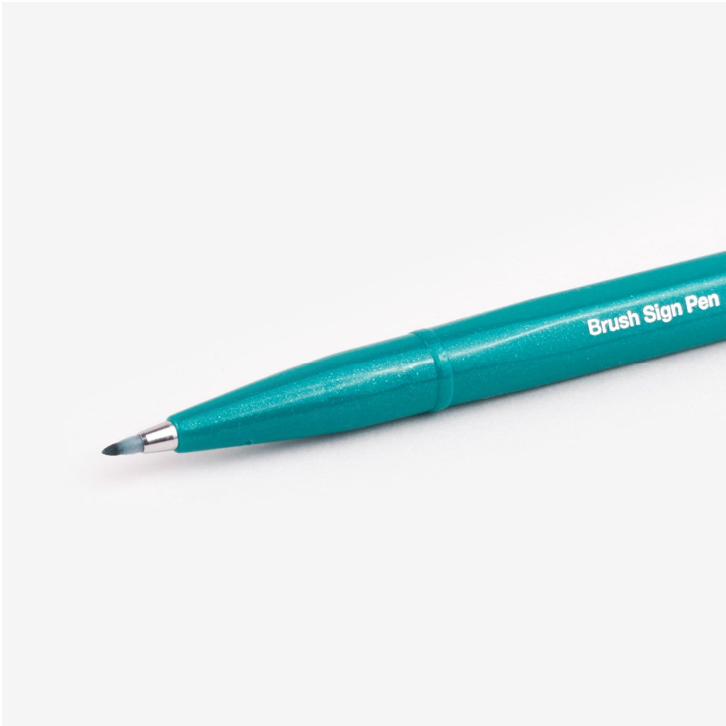 Pentel Fude Touch Brush Sign Pen - Turquoise Green