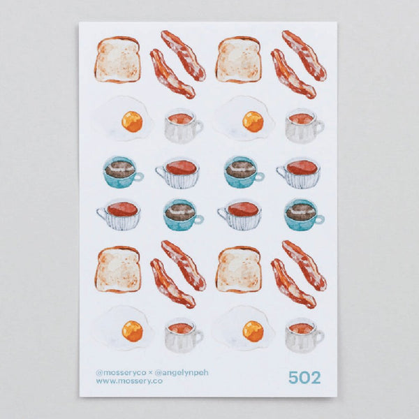 Artist Series Stickers: Eggs, Bacon, Toast, Hot Drinks (STC-502)