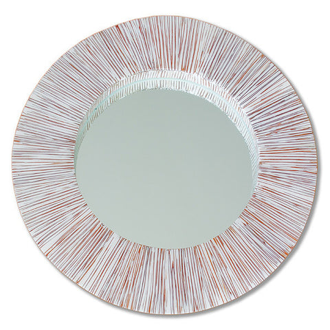 White Round Carillo Mirror