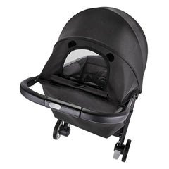Baby Jogger City Tour 2 (Pitch Black) - rear view, showing the viewing window in the stroller`s hood
