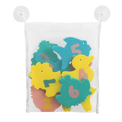 ClevaMama Baby Bath Foam Toys (Multi-Coloured) - showing the shapes inside the tidy bag and its suction cups