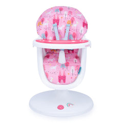 Cosatto 3Sixti Highchair (Unicorn Land) - front view, showing the highchair at lowest position