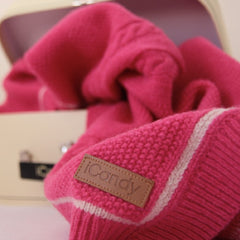 Cableknit Blanket in Rose Pink with iCandy branding