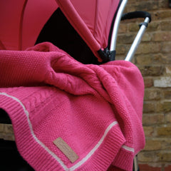 Cableknit Blanket in Rose Pink lifestyle image