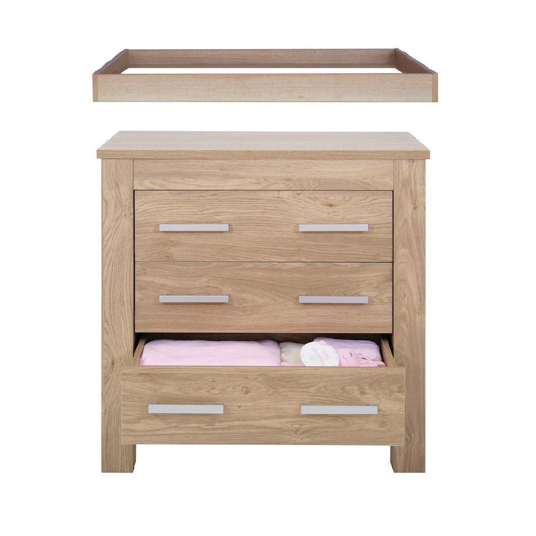 Babystyle Bordeaux Drawers (Oak) shown with detachable changing top