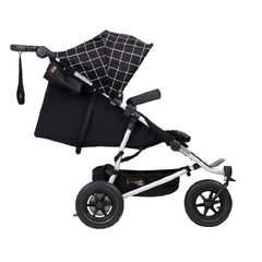 Mountain Buggy Duet v3.0 Double Pushchair (Grid) - side view, shown reclined