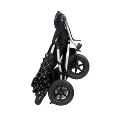 Mountain Buggy Duet v3.0 Double Pushchair (Grid) - side view, shown folded