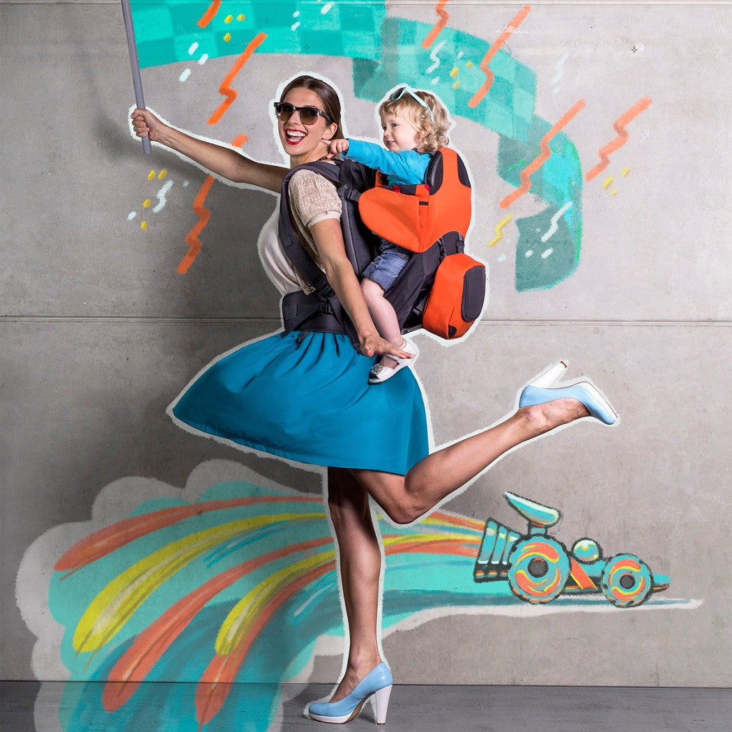 dff3ebb8d3a ... Phil   Teds Parade Baby Carrier (Orange Grey) - lifestyle image showing  child