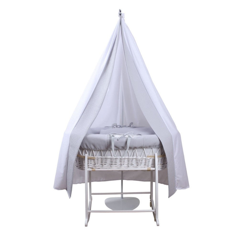 Clair de Lune 6-Piece Waffle Moses Basket Starter Set (Grey/White) - showing grey waffle bedding on white wicker moses basket and stand