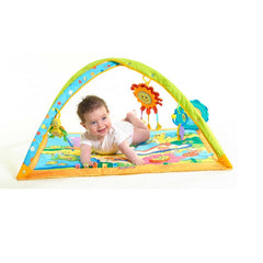 Tiny Love Gymini Playmat (Sunny Day) - showing a baby lying on tummy exploring the playmat