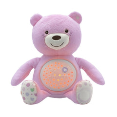 Chicco Baby Bear Light (Pink) - front view, shown with light activated