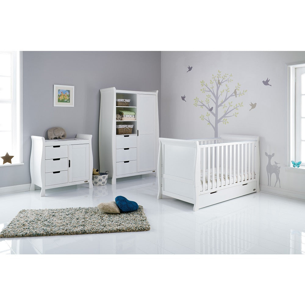 Obaby Stamford Sleigh 3 Piece Room Set (White) - lifestyle image, shown with cot