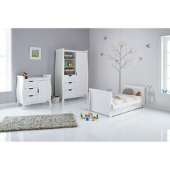 Obaby Stamford Sleigh 3 Piece Room Set (White) - lifestyle image, shown with junior bed