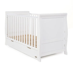 Obaby Stamford Sleigh Cot Bed (White) - shown as a cot without mattress