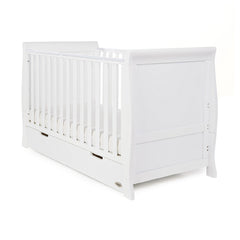 Obaby Stamford Sleigh Cot Bed (White) - shown as a cot with a mattress (not included)