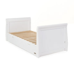 Obaby Stamford Sleigh Cot Bed (White) - shown as junior bed