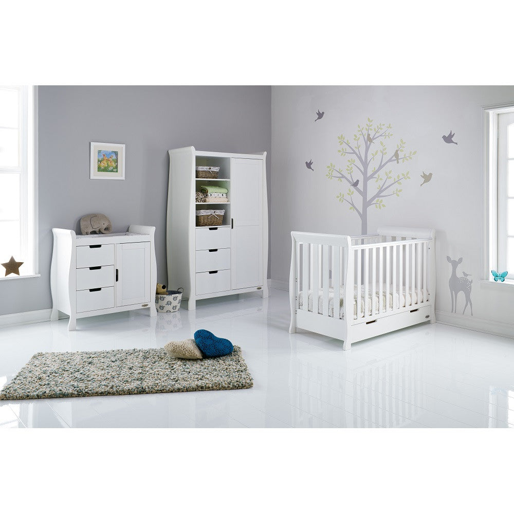 Obaby Stamford Mini Sleigh 3 Piece Room Set (White) - lifestyle image, shown with mini cot