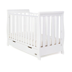 Obaby Stamford Mini Sleigh Cot Bed (White) - shown with a mattress (not included)