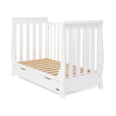 Obaby Stamford Mini Sleigh Cot Bed (White) - shown without mattress and front removed