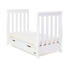 Obaby Stamford Mini Sleigh Cot Bed (White) - shown as a junior bed with a mattress (not included)