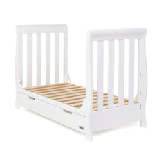 Obaby Stamford Mini Sleigh Cot Bed (White) - shown as a junior bed without mattress