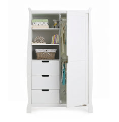 Obaby Stamford Sleigh Double Wardrobe (White) - front view, showing internal hanging rails (accessories and clothes not included)