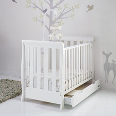 Obaby Stamford Mini Sleigh Cot Bed with Drawer (White) - lifestyle image, shown as cot