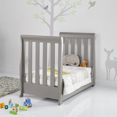 Obaby Stamford Mini Sleigh Cot Bed with Drawer (Taupe Grey) - lifestyle image