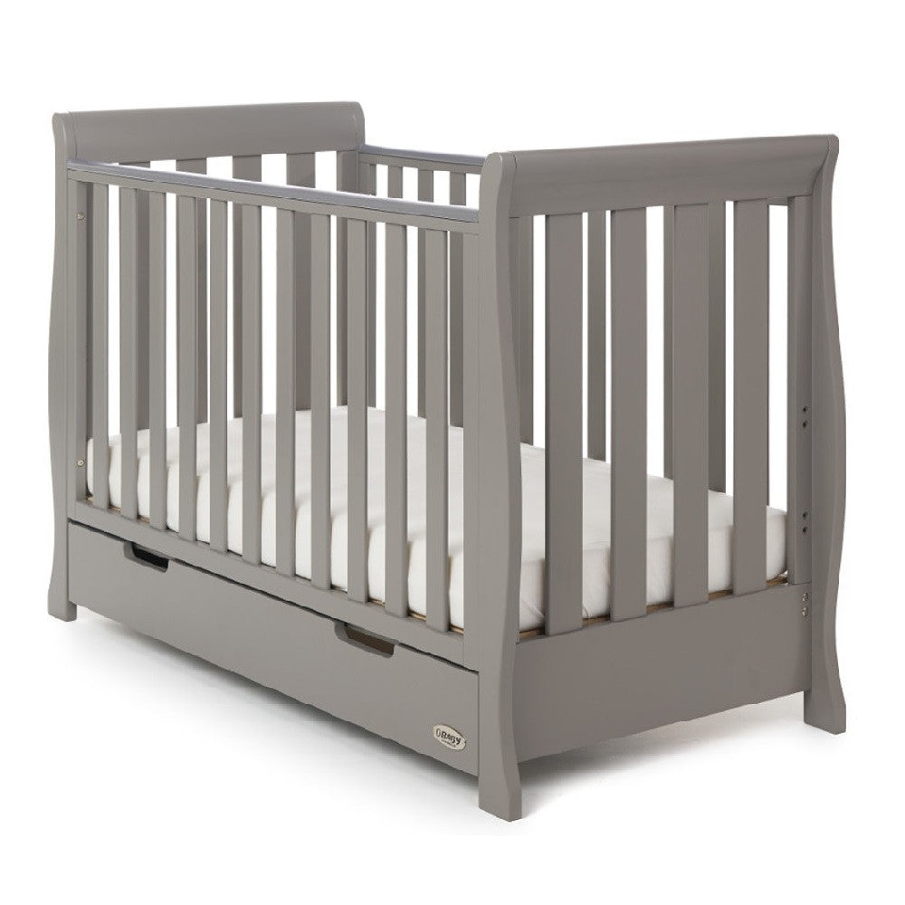 Obaby Stamford Mini Sleigh Cot Bed with Drawer (Taupe Grey) - shown as cot (mattress not included)