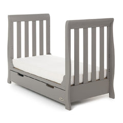 Obaby Stamford Mini Sleigh Cot Bed with Drawer (Taupe Grey) - shown as junior bed (mattress not included)